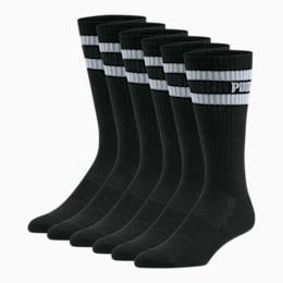 Men's Crew Socks [6 Pack], BLACK / WHITE, small